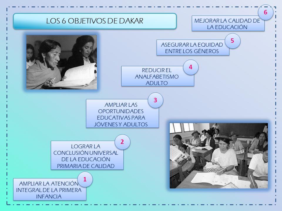 6 LOS 6 OBJETIVOS DE DAKAR. MEJORAR LA CALIDAD DE LA EDUCACIÓN. 5. ASEGURAR LA EQUIDAD ENTRE LOS GÉNEROS.