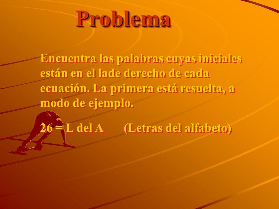 Problema Encuentra las palabras cuyas iniciales están en el lade derecho de cada ecuación. La primera está resuelta, a modo de ejemplo.
