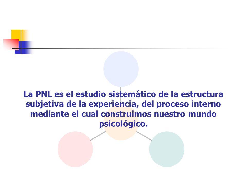 La PNL es el estudio sistemático de la estructura subjetiva de la experiencia, del proceso interno mediante el cual construimos nuestro mundo psicológico.