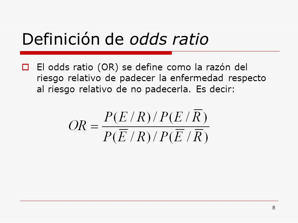 Definición de odds ratio