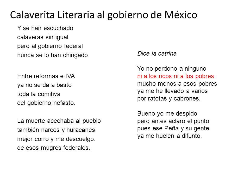 Calaverita Literaria al gobierno de México