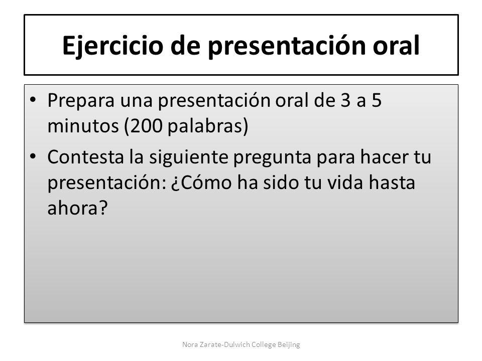 Ejercicio de presentación oral