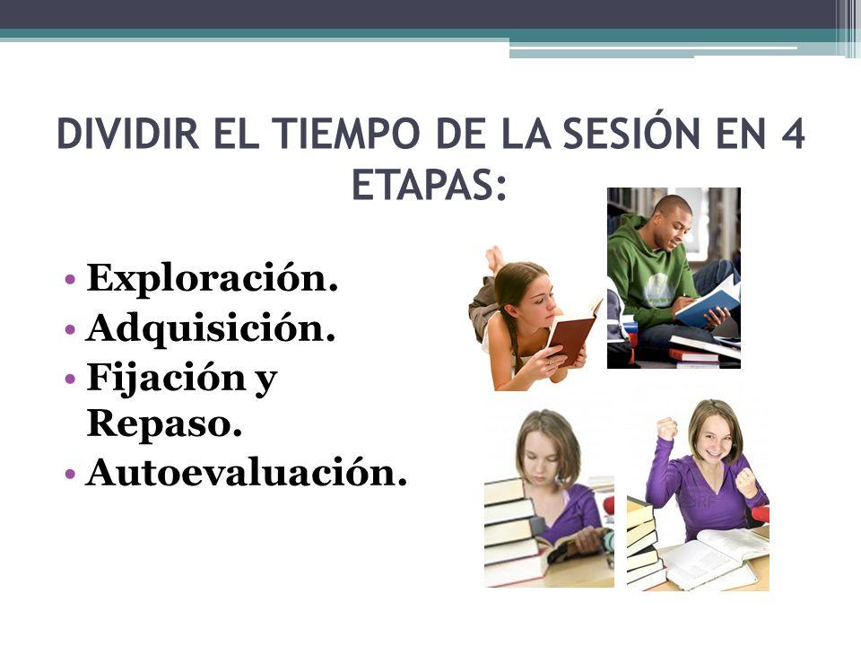 DIVIDIR EL TIEMPO DE LA SESIÓN EN 4 ETAPAS: