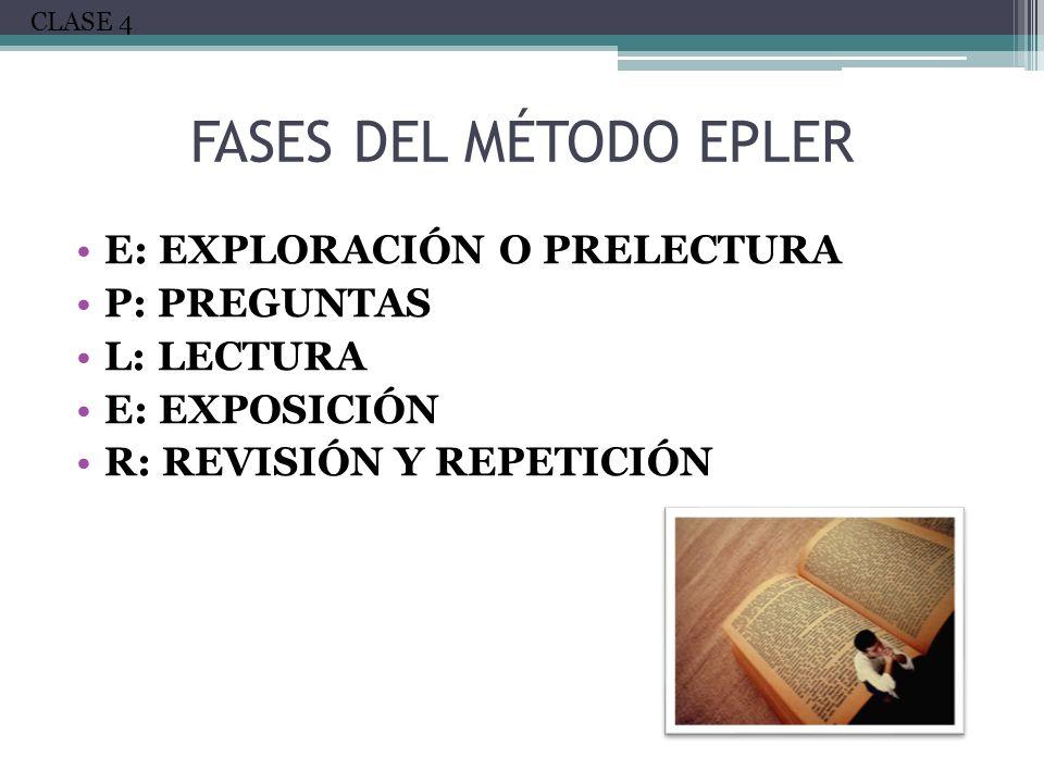 FASES DEL MÉTODO EPLER E: Exploración o prelectura P: Preguntas