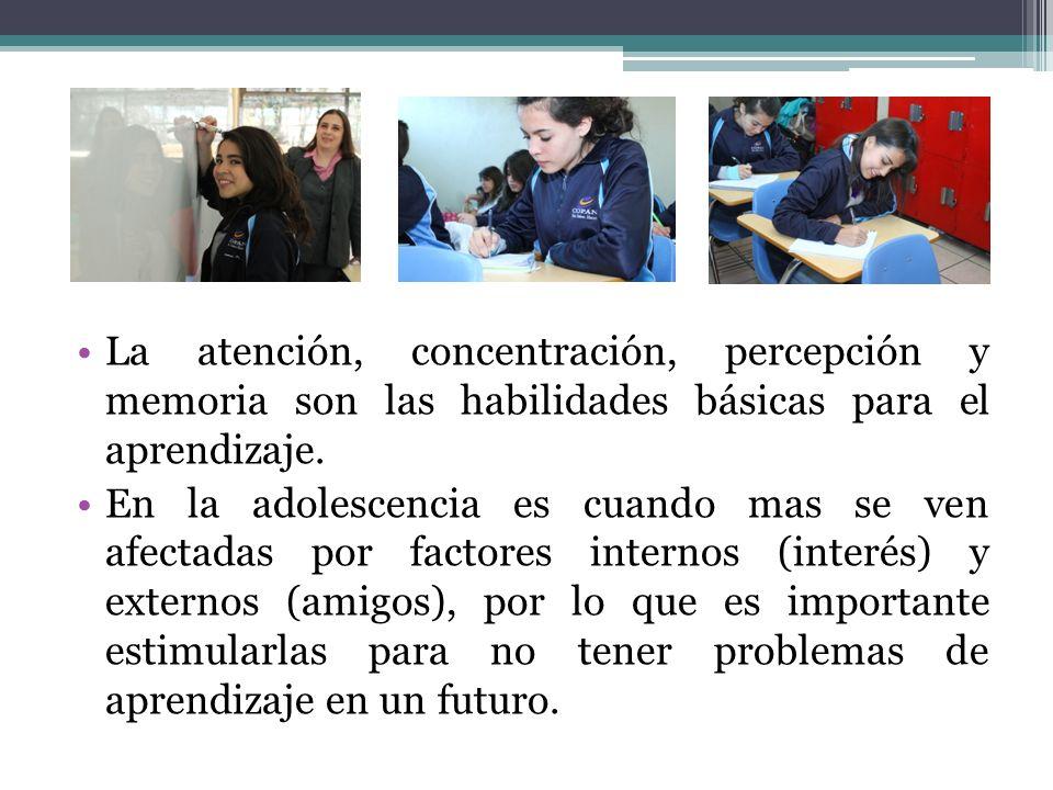 La atención, concentración, percepción y memoria son las habilidades básicas para el aprendizaje.