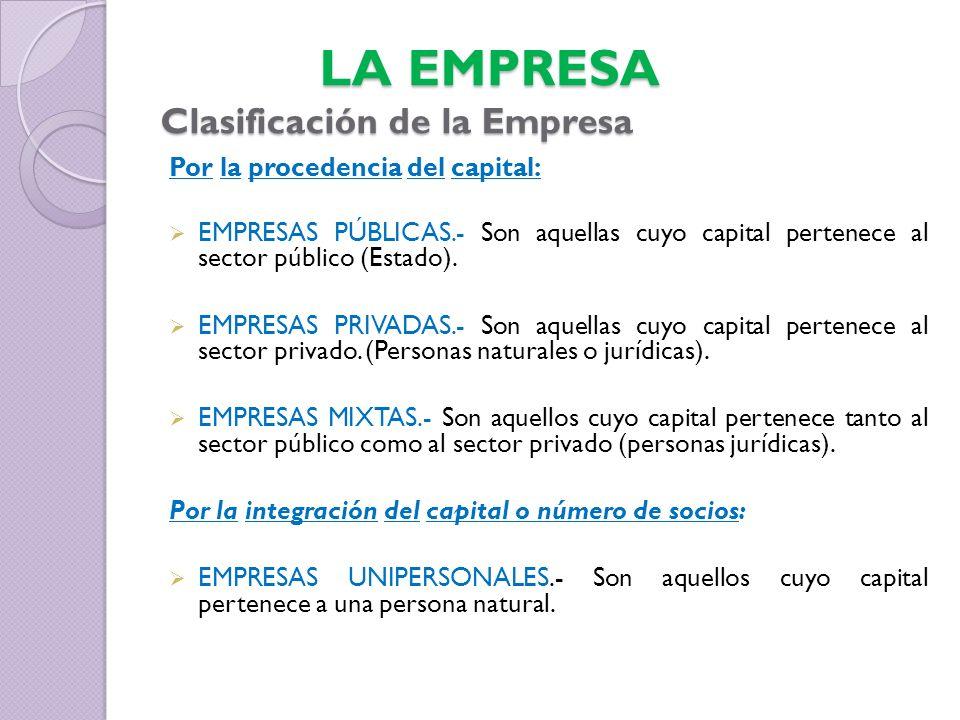 LA EMPRESA Clasificación de la Empresa