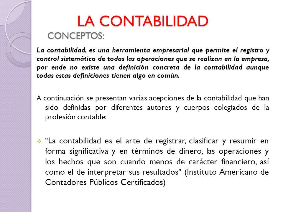LA CONTABILIDAD CONCEPTOS: