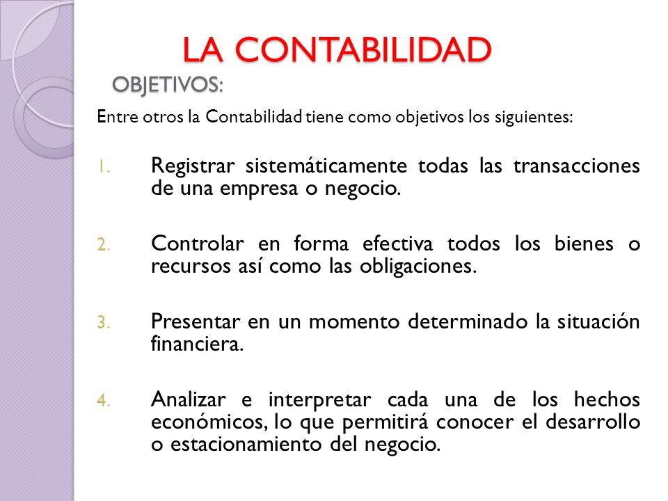 LA CONTABILIDAD OBJETIVOS: