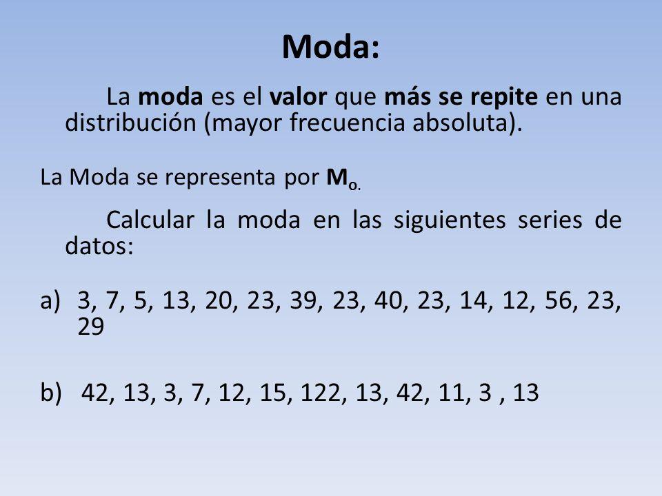 Moda: La moda es el valor que más se repite en una distribución (mayor frecuencia absoluta). La Moda se representa por Mo.
