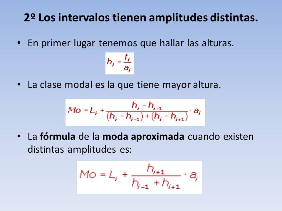 2º Los intervalos tienen amplitudes distintas.