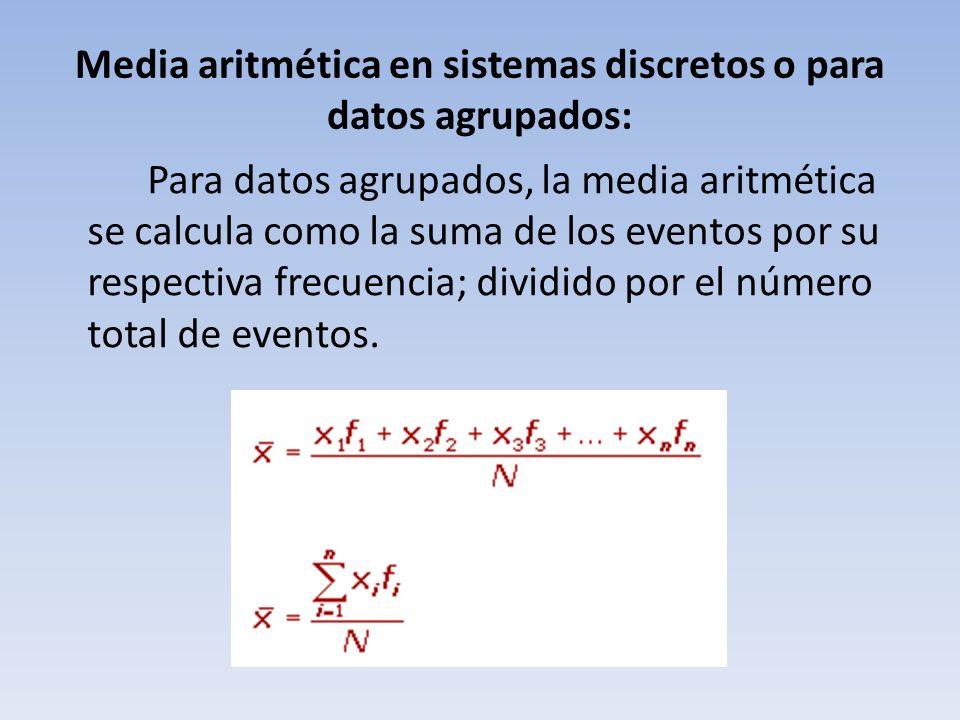 Media aritmética en sistemas discretos o para datos agrupados: