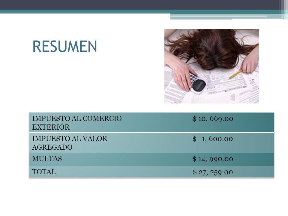 RESUMEN IMPUESTO AL COMERCIO EXTERIOR $ 10, 669.00