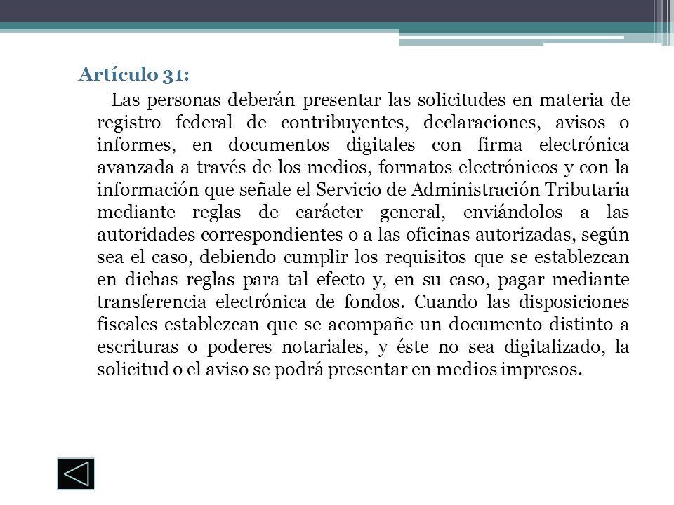 Artículo 31: