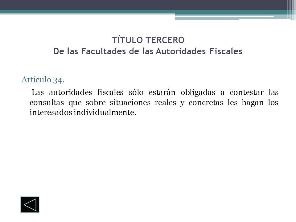 TÍTULO TERCERO De las Facultades de las Autoridades Fiscales