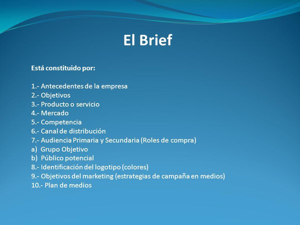 El Brief Está constituido por: 1.- Antecedentes de la empresa