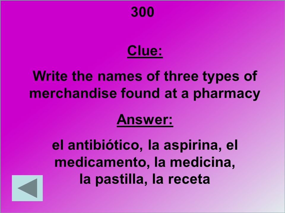 Write the names of three types of merchandise found at a pharmacy