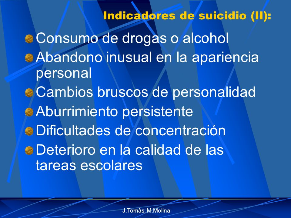 Indicadores de suicidio (II):