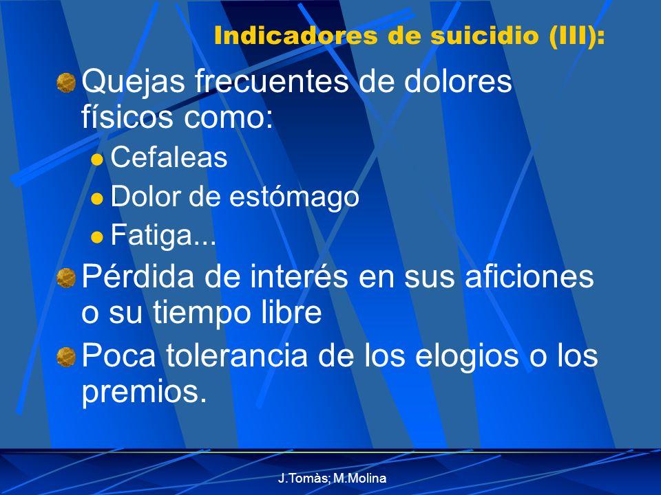 Indicadores de suicidio (III):