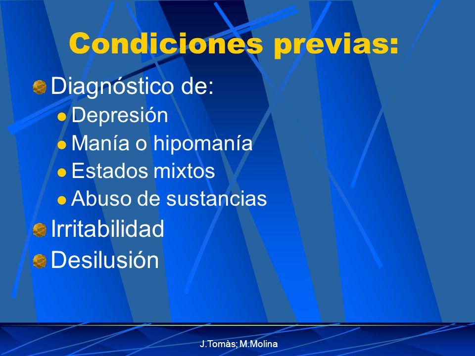 Condiciones previas: Diagnóstico de: Irritabilidad Desilusión
