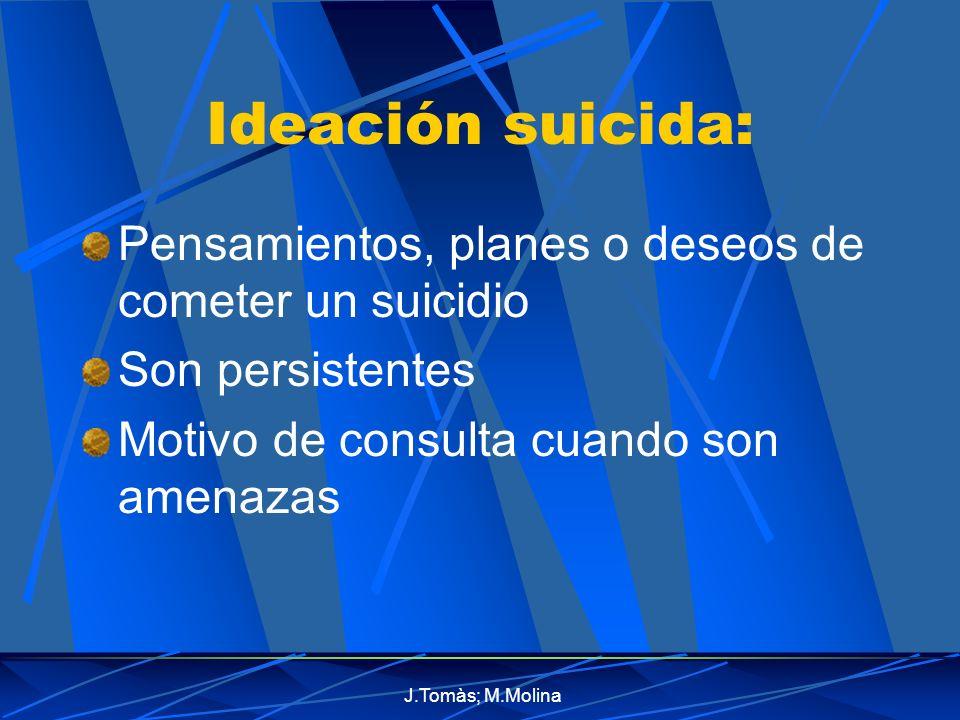 Ideación suicida: Pensamientos, planes o deseos de cometer un suicidio