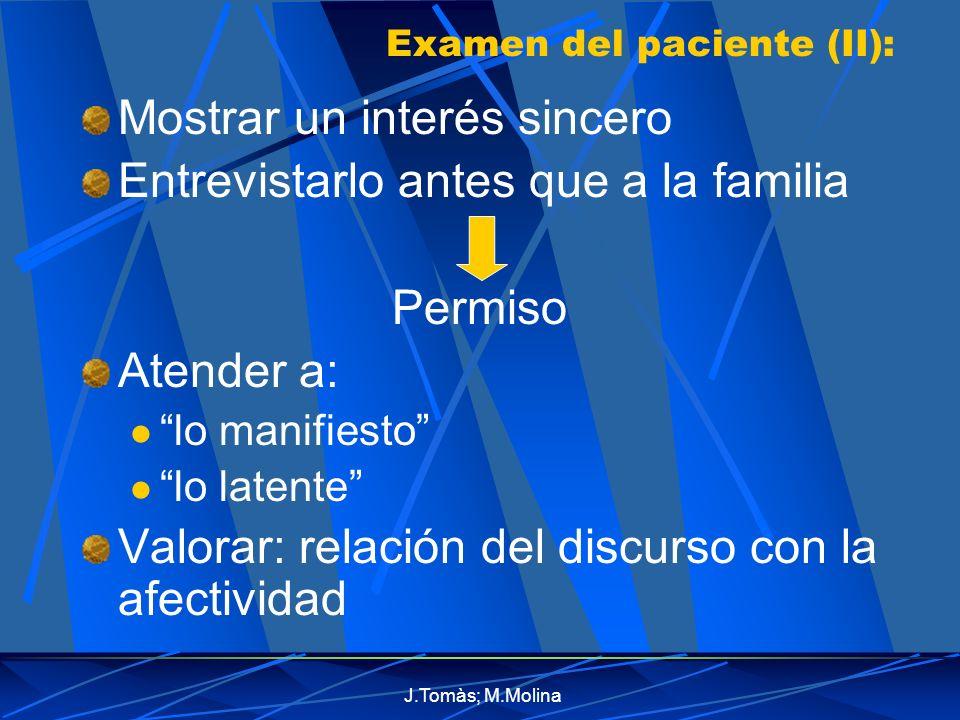 Examen del paciente (II):