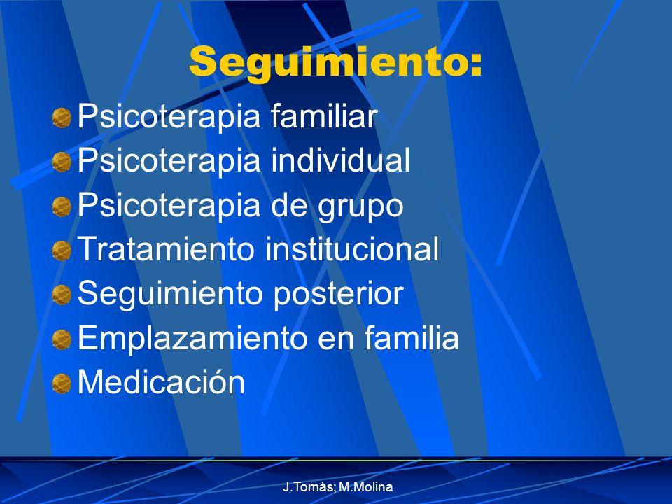 Seguimiento: Psicoterapia familiar Psicoterapia individual