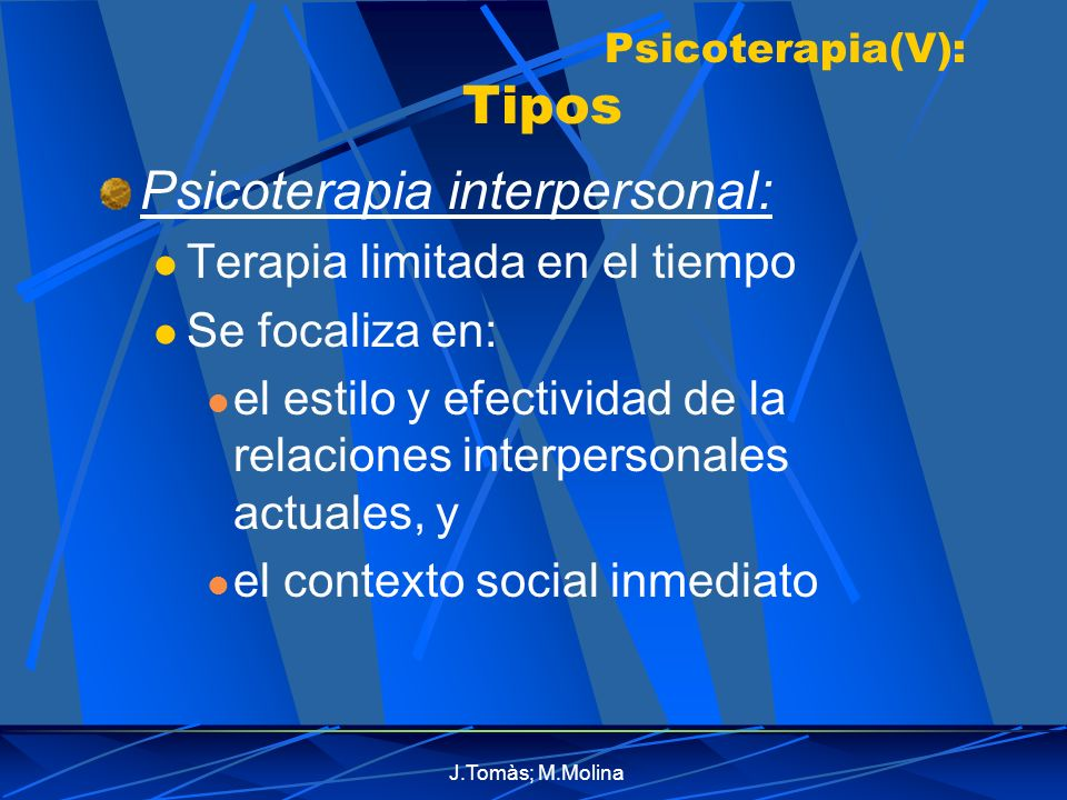 Psicoterapia(V): Tipos