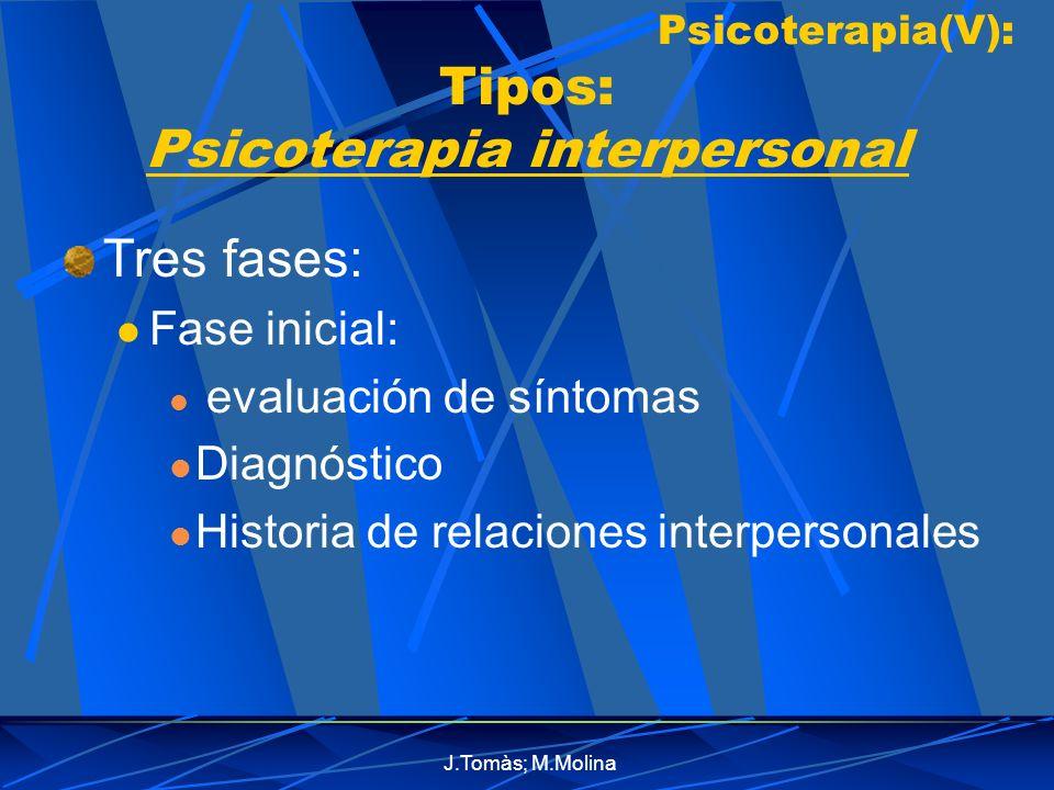 Psicoterapia(V): Tipos: Psicoterapia interpersonal