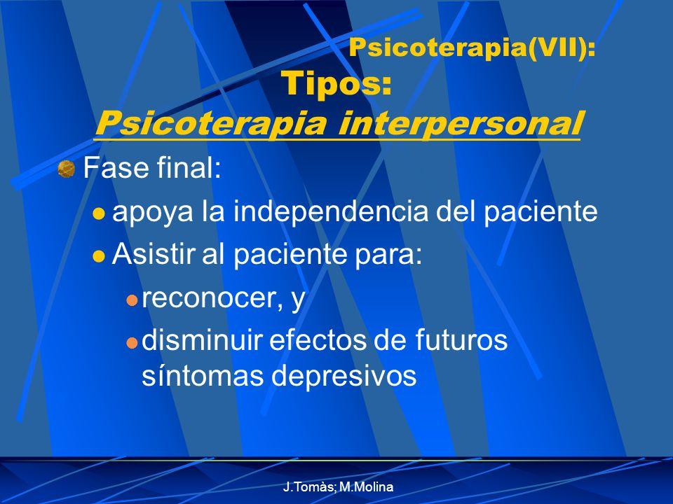 Psicoterapia(VII): Tipos: Psicoterapia interpersonal