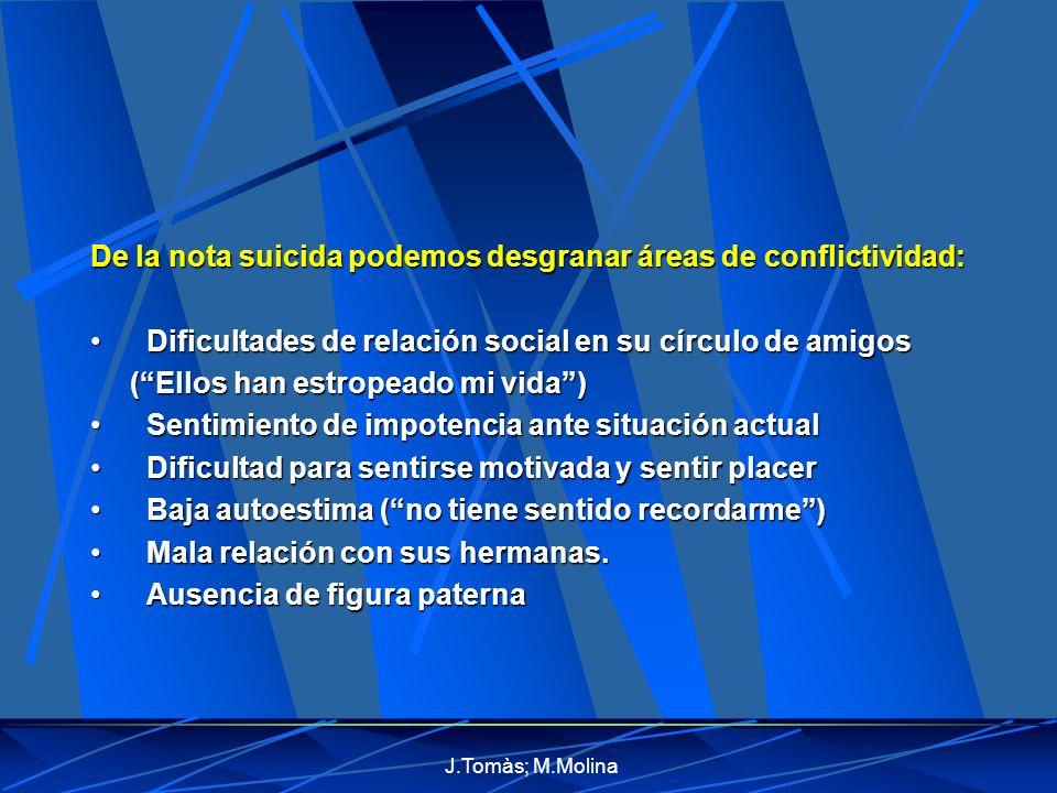 De la nota suicida podemos desgranar áreas de conflictividad: