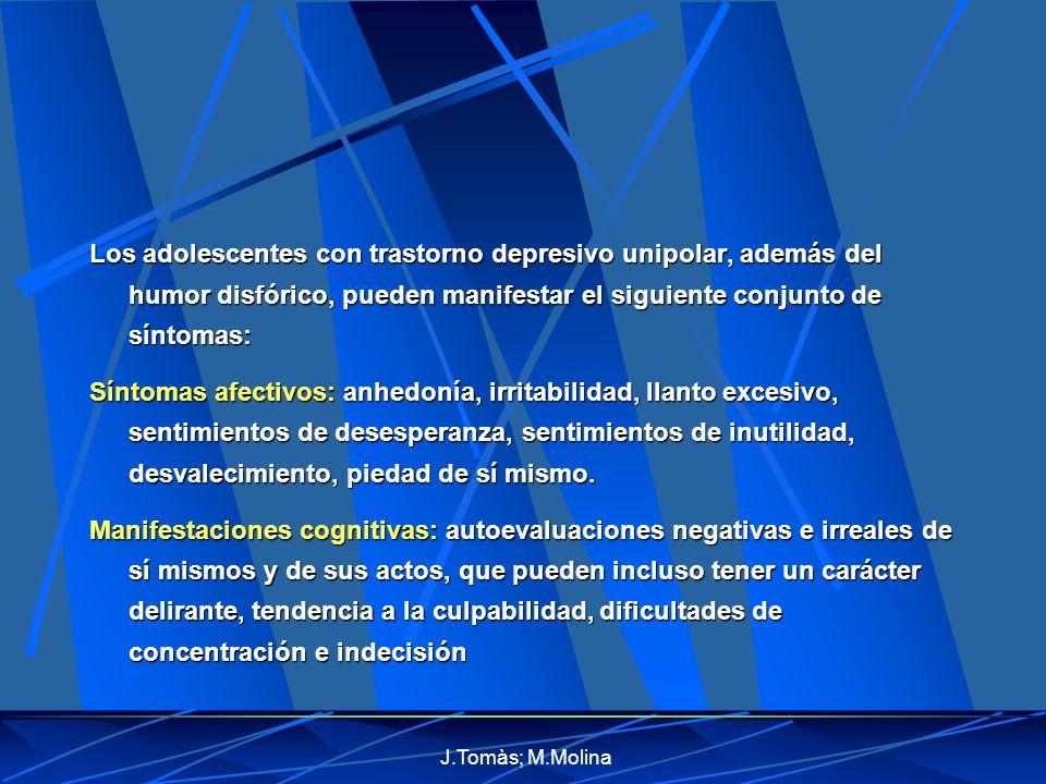 Los adolescentes con trastorno depresivo unipolar, además del humor disfórico, pueden manifestar el siguiente conjunto de síntomas: