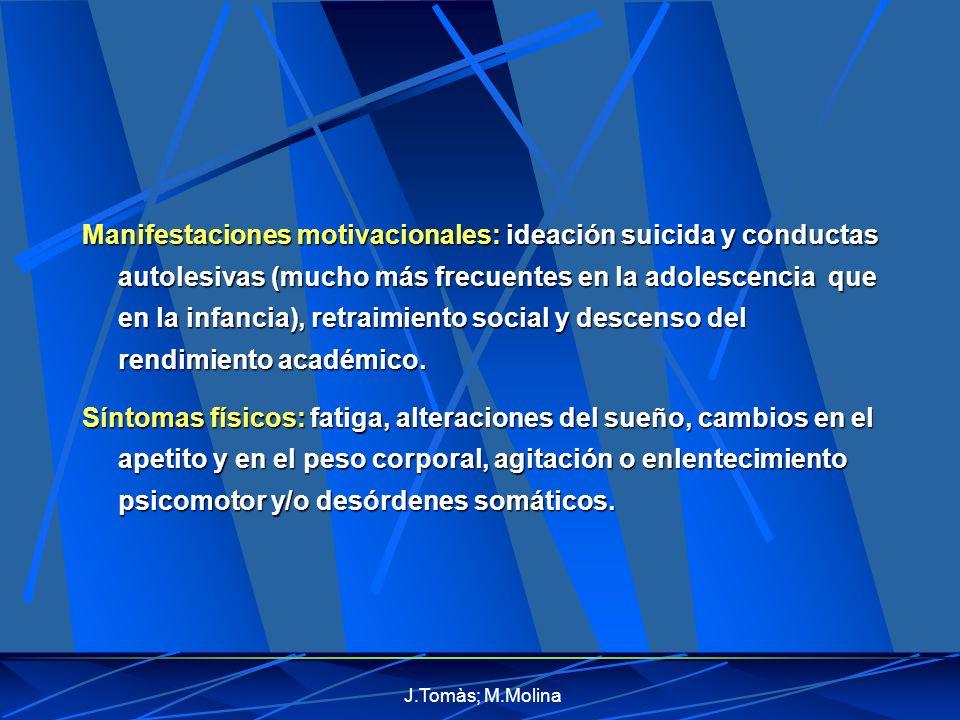 Manifestaciones motivacionales: ideación suicida y conductas autolesivas (mucho más frecuentes en la adolescencia que en la infancia), retraimiento social y descenso del rendimiento académico.