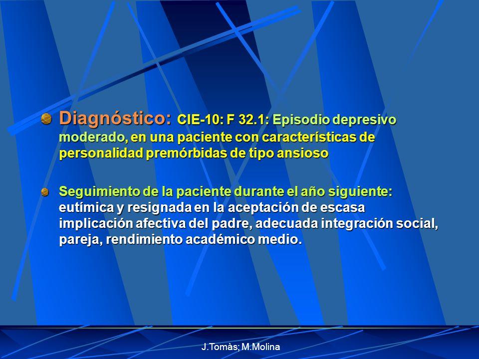 Diagnóstico: CIE-10: F 32.1: Episodio depresivo moderado, en una paciente con características de personalidad premórbidas de tipo ansioso