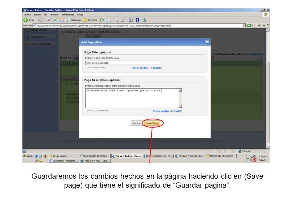 Guardaremos los cambios hechos en la página haciendo clic en (Save page) que tiene el significado de Guardar pagina .