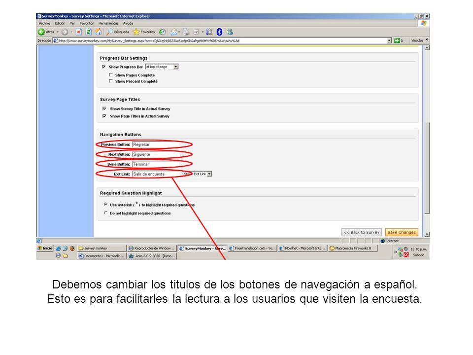 Debemos cambiar los titulos de los botones de navegación a español