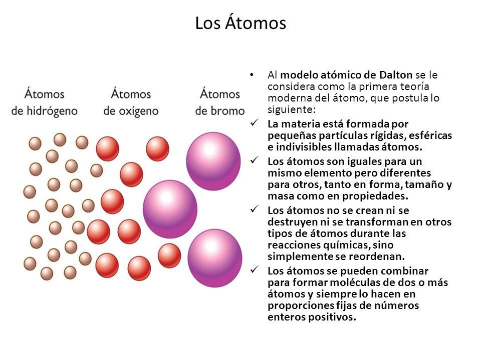 Los Átomos Al modelo atómico de Dalton se le considera como la primera teoría moderna del átomo, que postula lo siguiente: