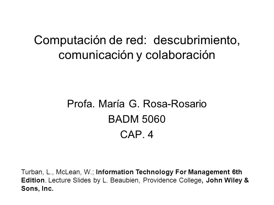 Computación de red: descubrimiento, comunicación y colaboración