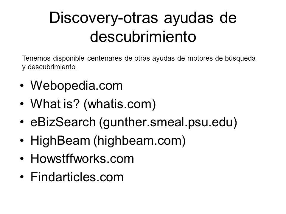 Discovery-otras ayudas de descubrimiento