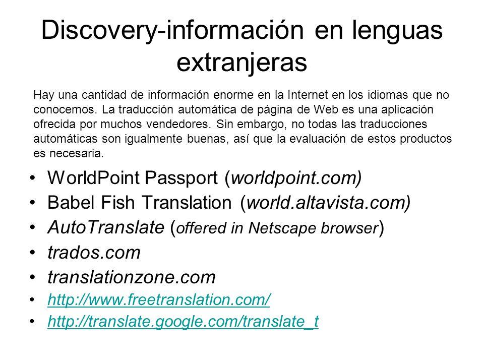 Discovery-información en lenguas extranjeras