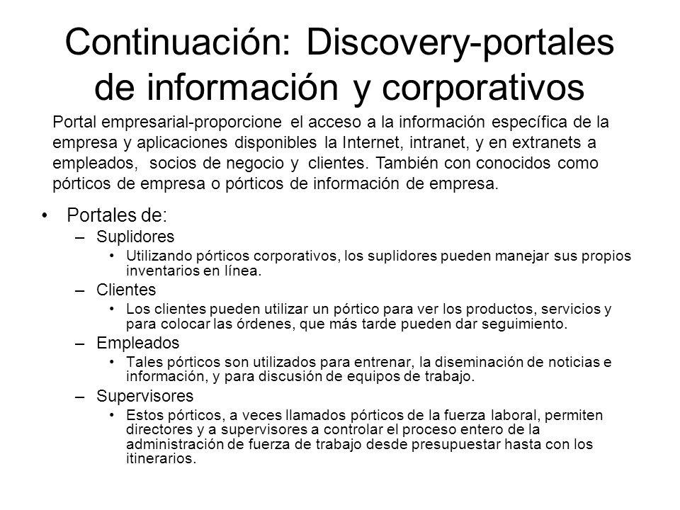 Continuación: Discovery-portales de información y corporativos