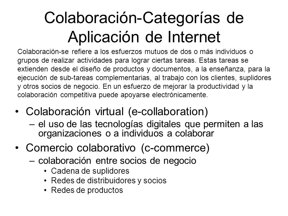 Colaboración-Categorías de Aplicación de Internet