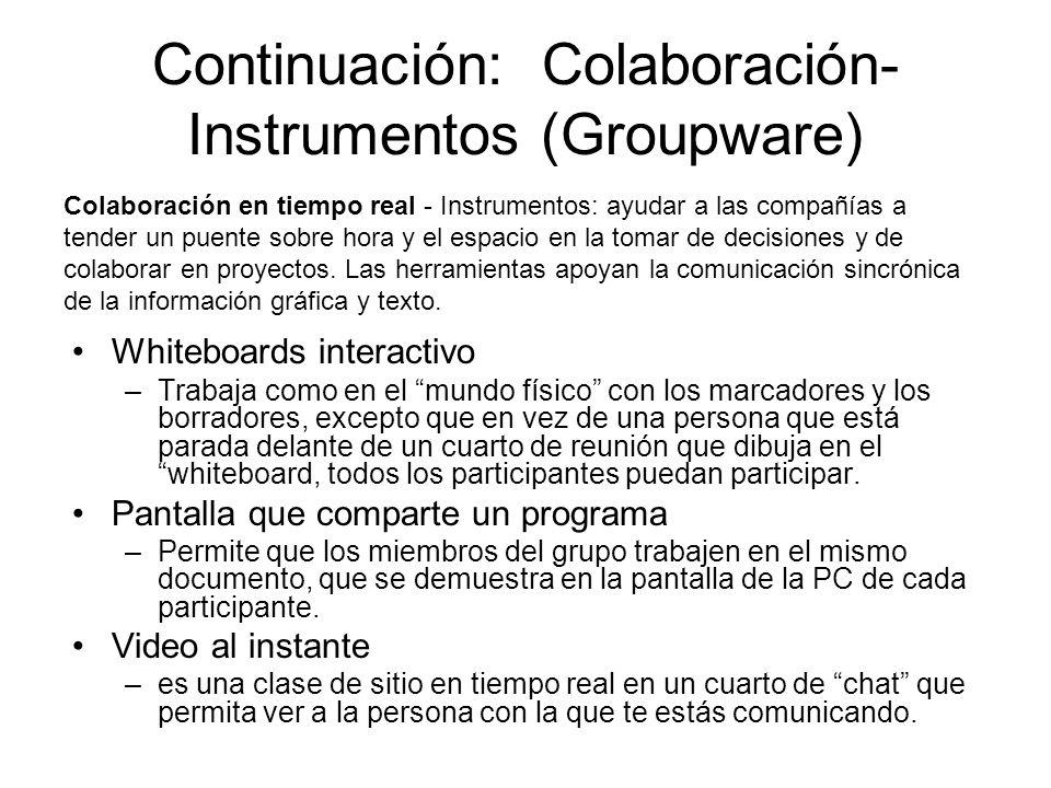 Continuación: Colaboración- Instrumentos (Groupware)
