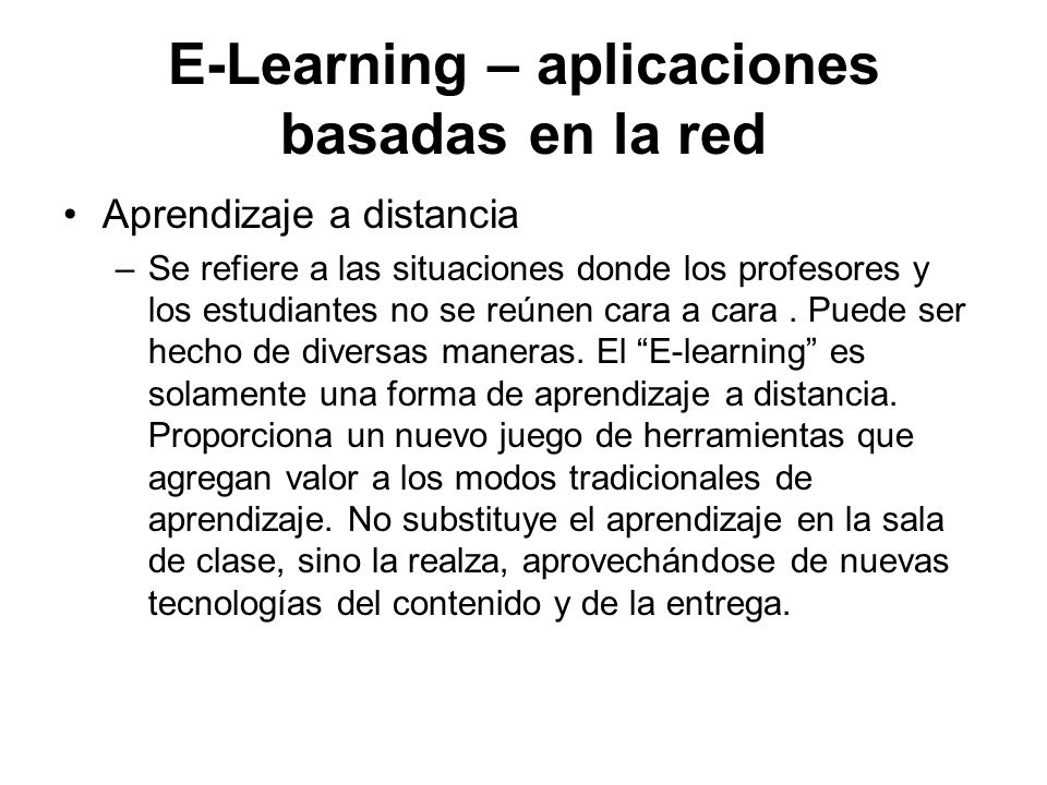 E-Learning – aplicaciones basadas en la red