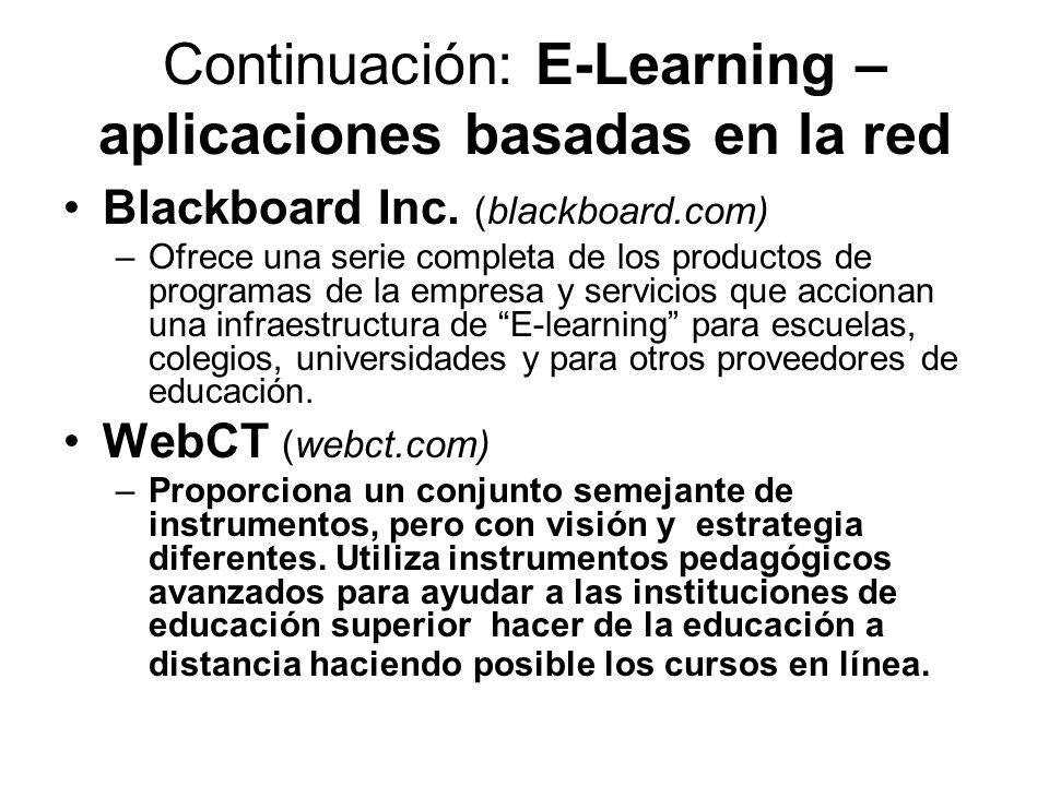 Continuación: E-Learning – aplicaciones basadas en la red