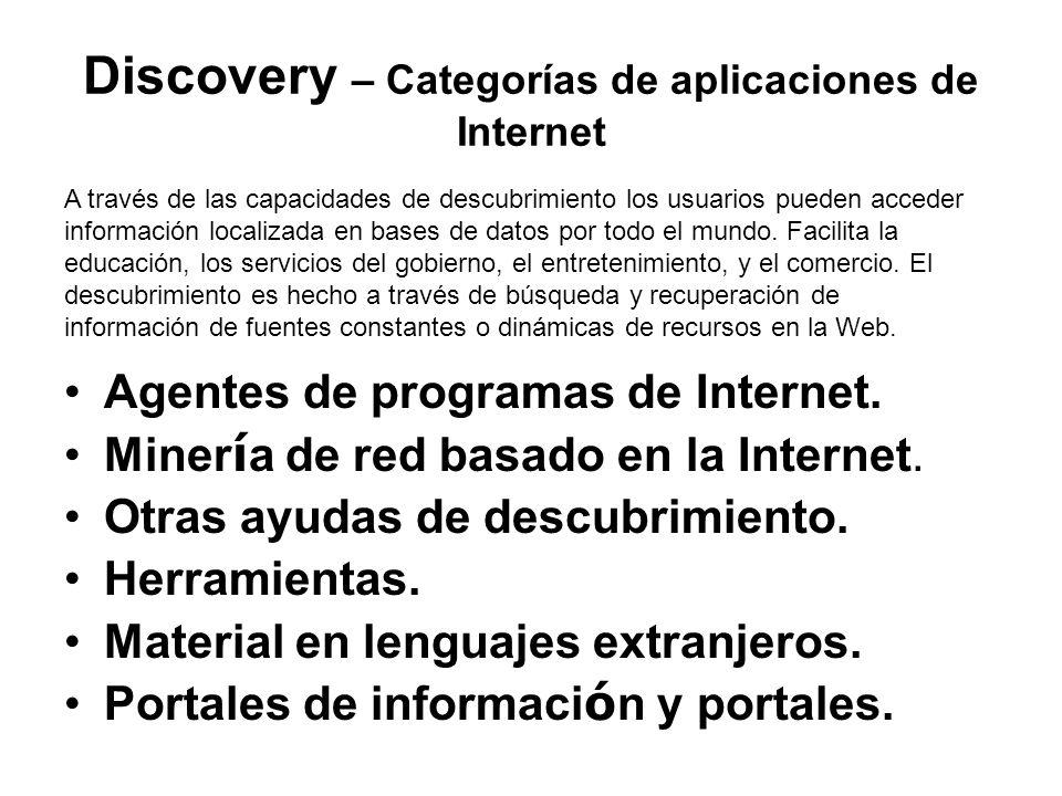Discovery – Categorías de aplicaciones de Internet