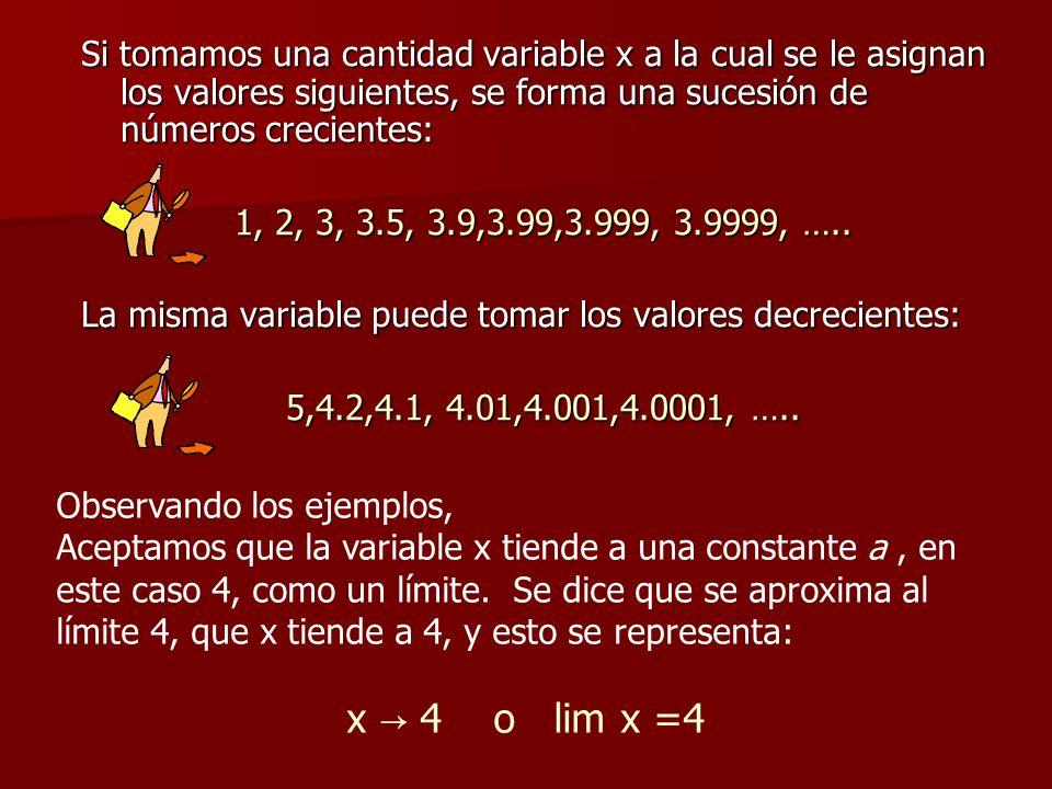 Si tomamos una cantidad variable x a la cual se le asignan los valores siguientes, se forma una sucesión de números crecientes: