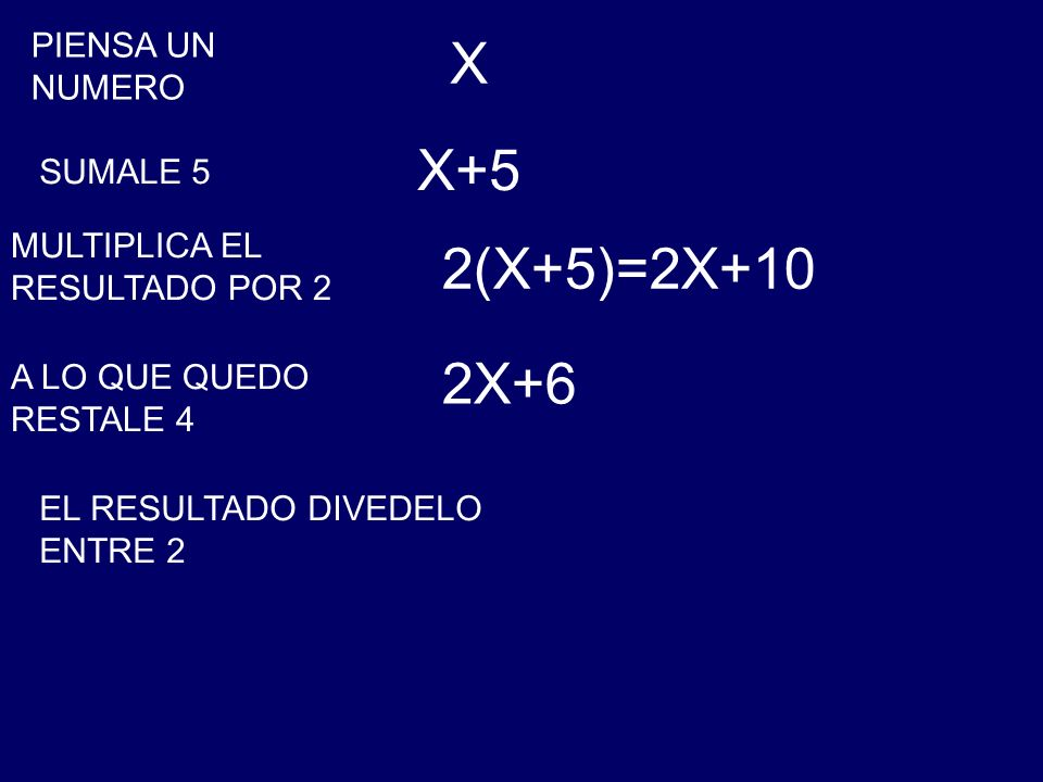 X X+5 2(X+5)=2X+10 2X+6 PIENSA UN NUMERO SUMALE 5