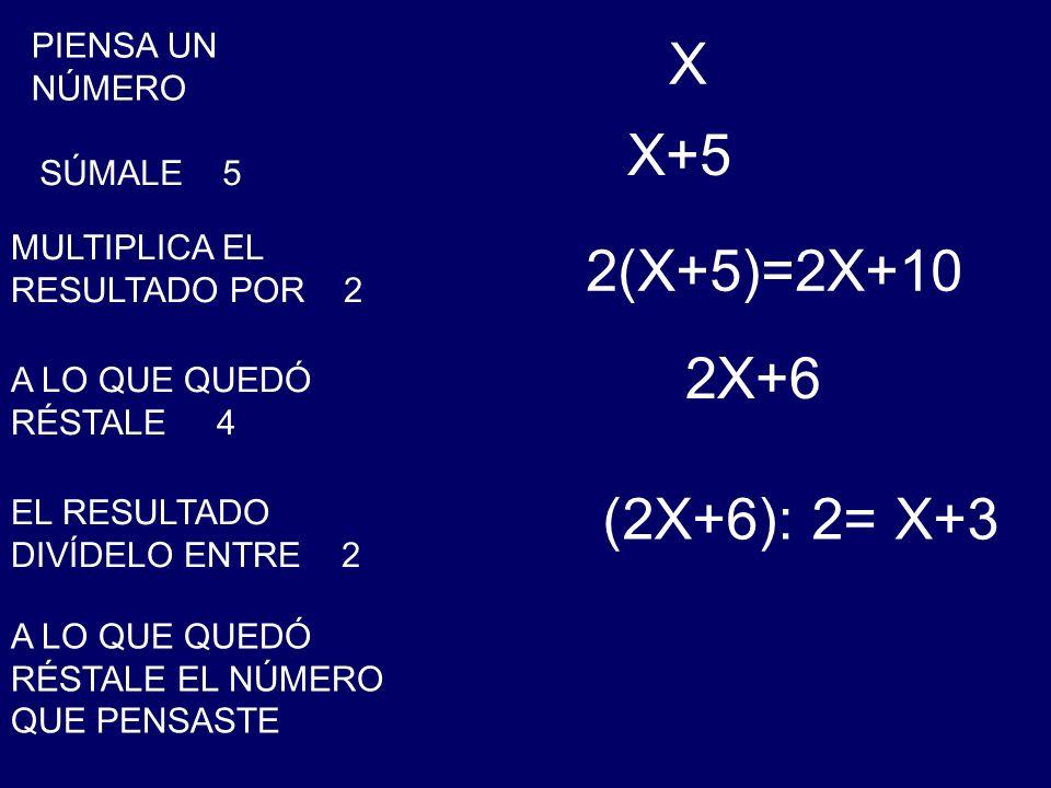 X X+5 2(X+5)=2X+10 2X+6 (2X+6): 2= X+3 PIENSA UN NÚMERO SÚMALE 5