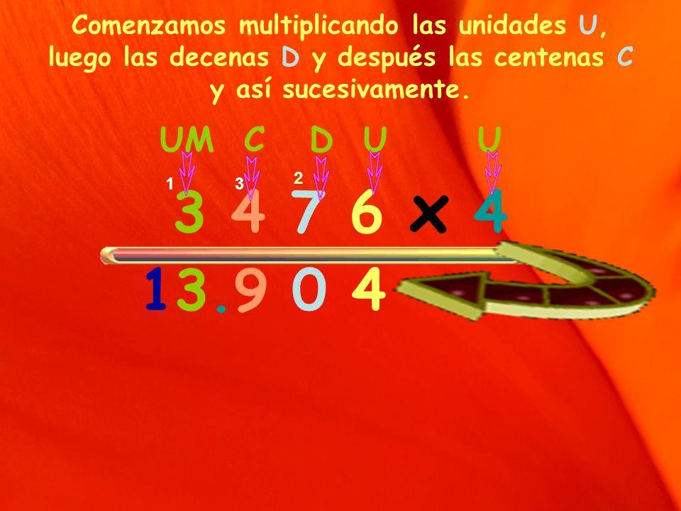 Comenzamos multiplicando las unidades U, luego las decenas D y después las centenas C y así sucesivamente.