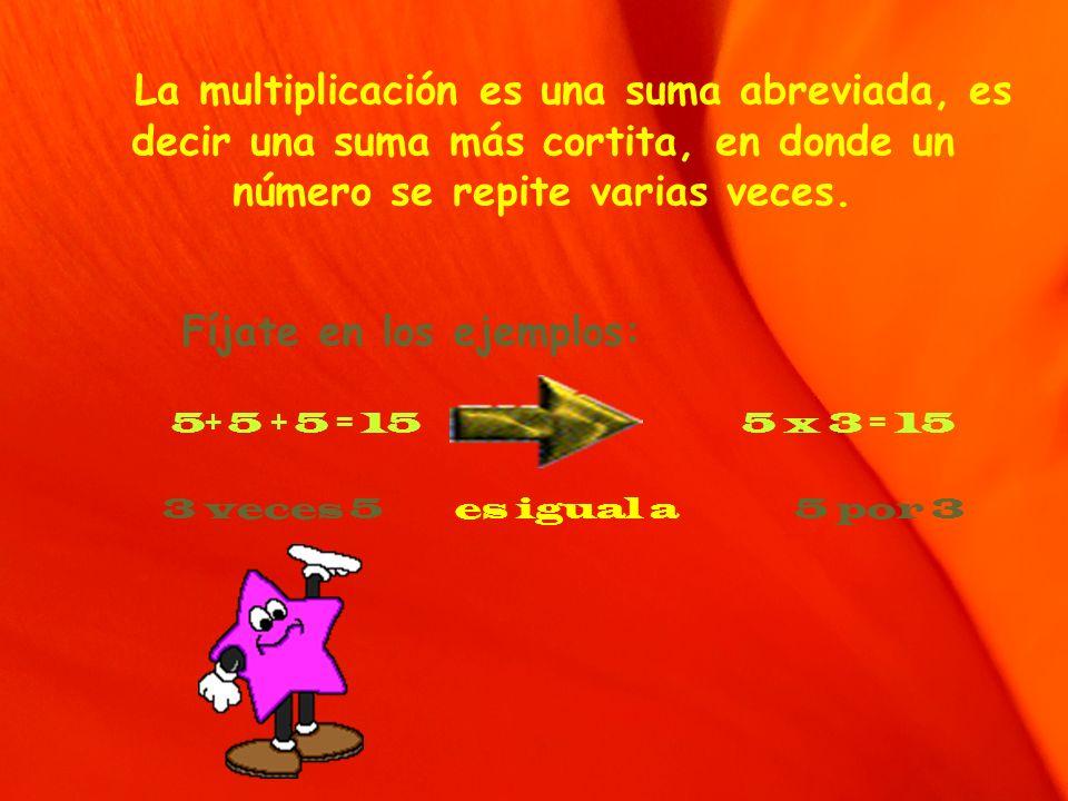 La multiplicación es una suma abreviada, es decir una suma más cortita, en donde un número se repite varias veces.